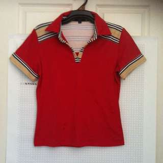 Red Burberry Polo Cotton Top