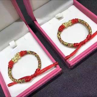 Promotion Sale: 24K 999 GOLD Mini PiXiu Charm With Handmade String Bracelet