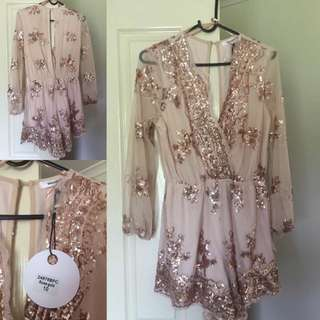 Rose gold sequin Play Suit