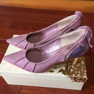 AnitaLee 粉色緞帶氣質高跟鞋