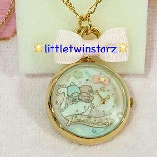 Sanrio Original Little Twin Stars Pocket Watch Pendant & Chain