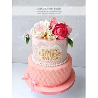 【Connie's Home Sweets】結婚蛋糕 生日蛋糕 3D立體糖花蛋糕 周年慶祝 Sugar Flower Wedding Cake Birthday Cake Anniversary Cake