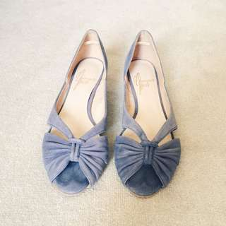 Blue-grey Suede Peep Toe Flats Size 37.5