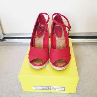 Sportsgirls Red Wedges Size 8