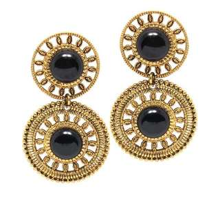 Classic Vintage Style Gold Wheel Dual Drop Earrings