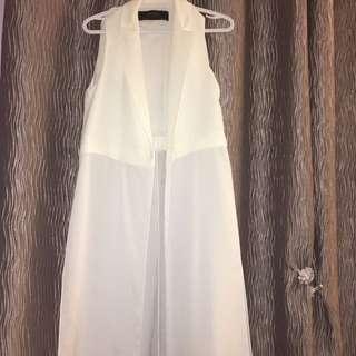 Zara Basic Collection | Long White Duster w/ Slits