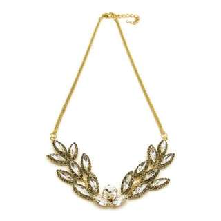 Exquisite Statement Encrusted Crystal Leaf Necklace