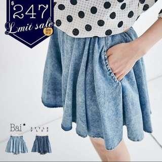 深藍 刷色傘狀牛仔褲裙