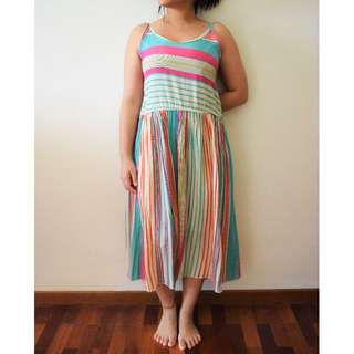 Multicoloured Sleeveless Maxi Dress