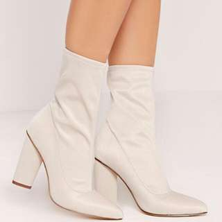 NEVER WORN Pointed Toe Neoprene Mid-Calf/Ankle Boot