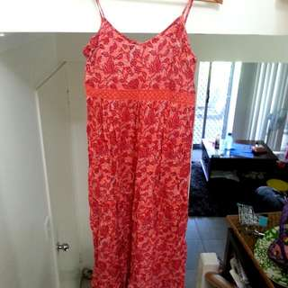 Red Patterned Maxi-Dress