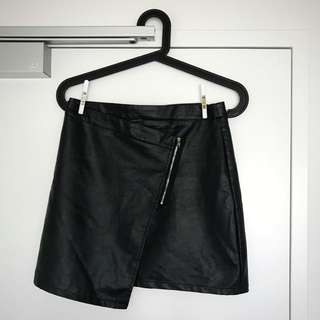 Faux leather Black Skirt Asymmetric