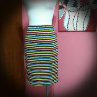 彩色條紋毛料裙