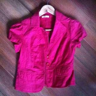Red Cap Sleeve Mini Jacket