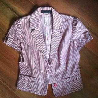 Red White Striped Short Sleeve Blazer