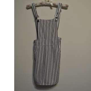 可愛黑白條紋吊帶裙