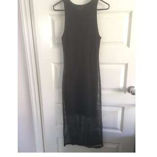 Size 8 Myer Material World Black Mesh Midi Dress