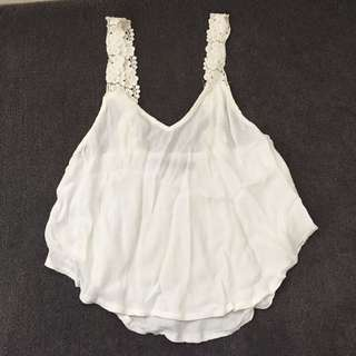 White Top With Floral Straps
