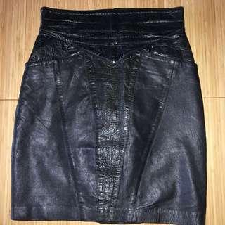 Vintage Leather High Waisted Black Skirt