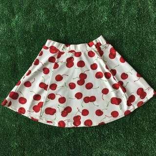 Cherry Printed Flare Skirt