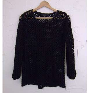 Size S Glassons Leather Collared Mesh Knit