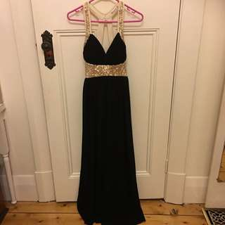 Size 8-10 Black And Gold Ball Gown