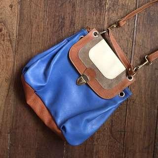 Primadonna Blue Leather Sling Bag