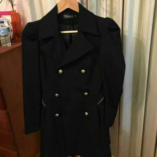 Navy Double Breasted Coat Jacket Size XS - S