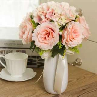 Free Shipping Pink Flowers Home Decorations (vase Included)