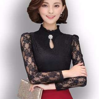 PO High Neck Lace Sleeve Daisy Jewel Office Blouse Top