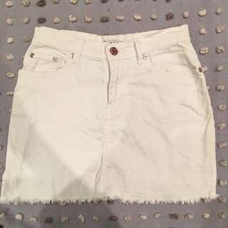 Suprè White Jean Skirt
