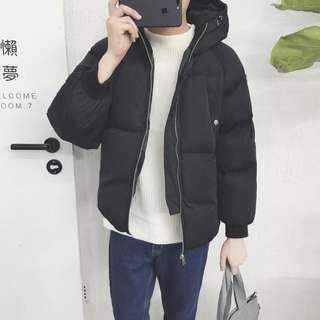 👑連帽寬鬆棉襖外套