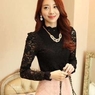 PO High Lace Neck Sleeve Elegant Office OL Blouse Top
