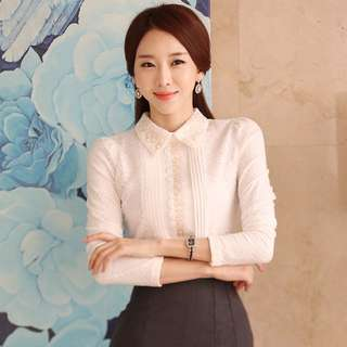 PO Lace Collar Floral Long Sleeve Office OL Blouse Top