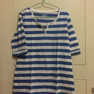 Original Phenomenal Long Sleeve T-shirt Stripped Blue Size XL Fit To L