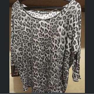 Terranova Oversized Top Leopard Jacket Pullover