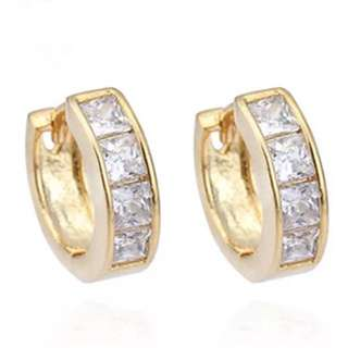 Brand New Stunning 18ct Gold Plated Zirconia Huggies Hoop Earrings