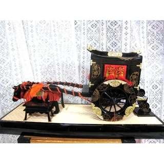 日本帶回雛道具擺飾御所車牛車蒔繪漆器樹脂