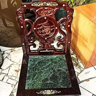Antique-Vintage Solid Wood Chair, Mother Of Pearl Engraving. Rose?