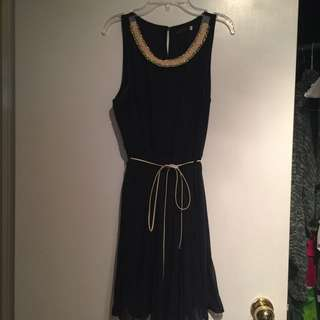 *price drop!* Navy Tie-Waist Dress With Neck Detail