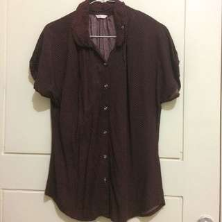 Women Shirt Top Brown Dot White Great Button Size M Fit To S