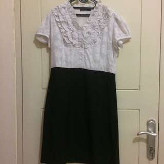 Original Eprise Lace Office Dress Black And White Size M