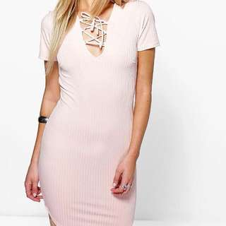 Lace Up Ribbed Curved Hem Bodycon Dress