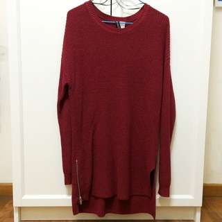 🚚 H&M MAROON KNITTED LONG TOP