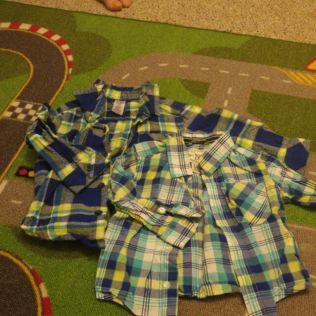 2 Blue & Green Plaid Button Ups (1 Flannel)