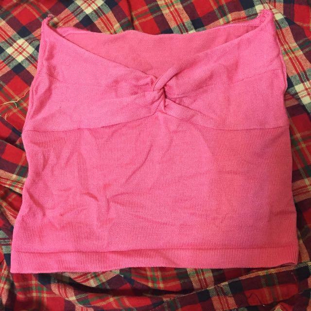 桃紅平口上衣