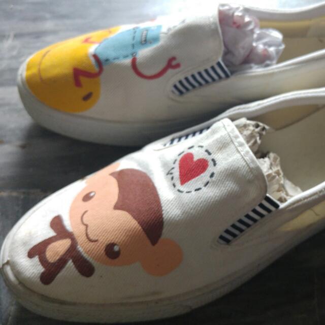 下殺⭕機器人猴子🐵手繪帆布鞋
