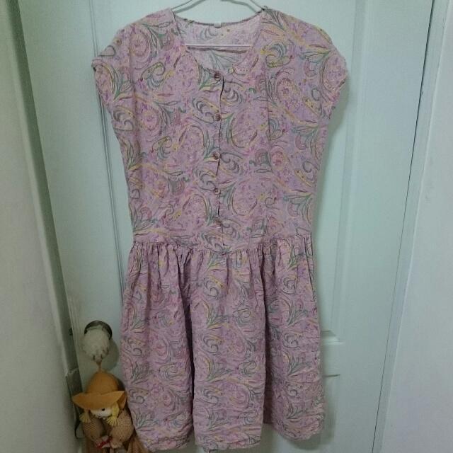 女孩別哭 粉色 古著 洋裝