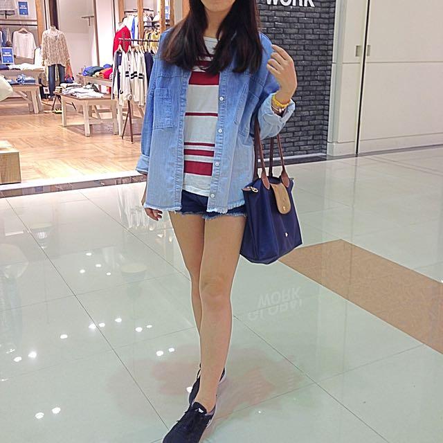 韓國購入 漸層 牛仔 襯衫 落肩