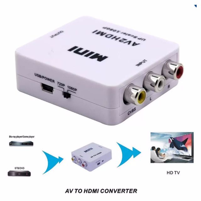 ★★ AV to HDMI Converter 1080P Mini Portable AV2HDMI RCA Adapter HDMI Composite CVBS 3 RCA to HDMI Switcher / Video Convertor ★★ Color: White ★★